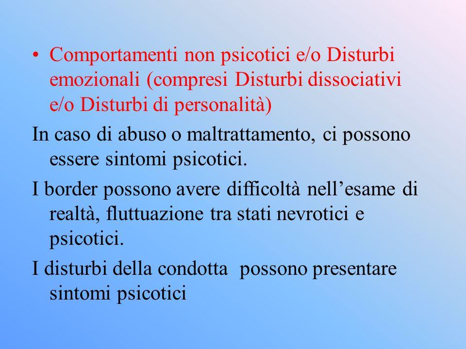 Comportamenti non psicotici e/o Disturbi emozionali (compresi Disturbi dissociativi e/o Disturbi di personalità)