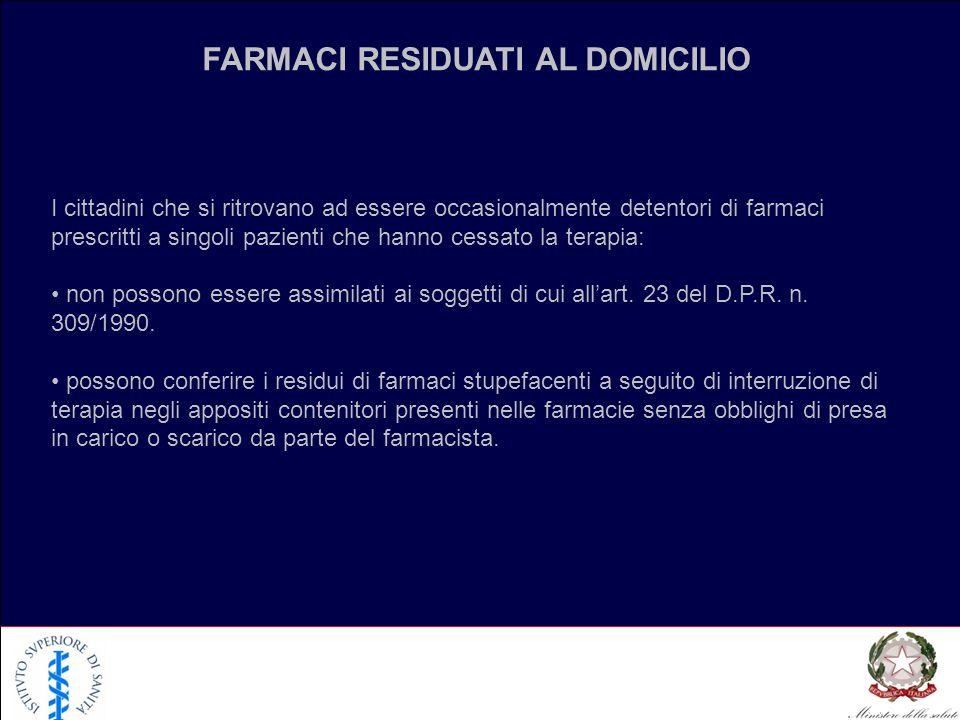 FARMACI RESIDUATI AL DOMICILIO