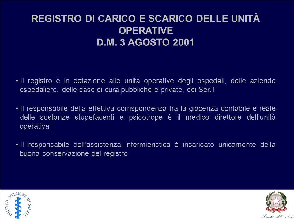 REGISTRO DI CARICO E SCARICO DELLE UNITÀ OPERATIVE