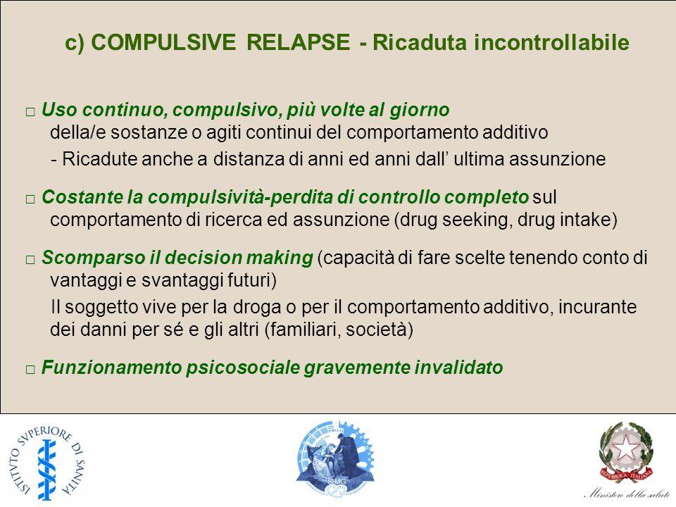 c) COMPULSIVE RELAPSE - Ricaduta incontrollabile