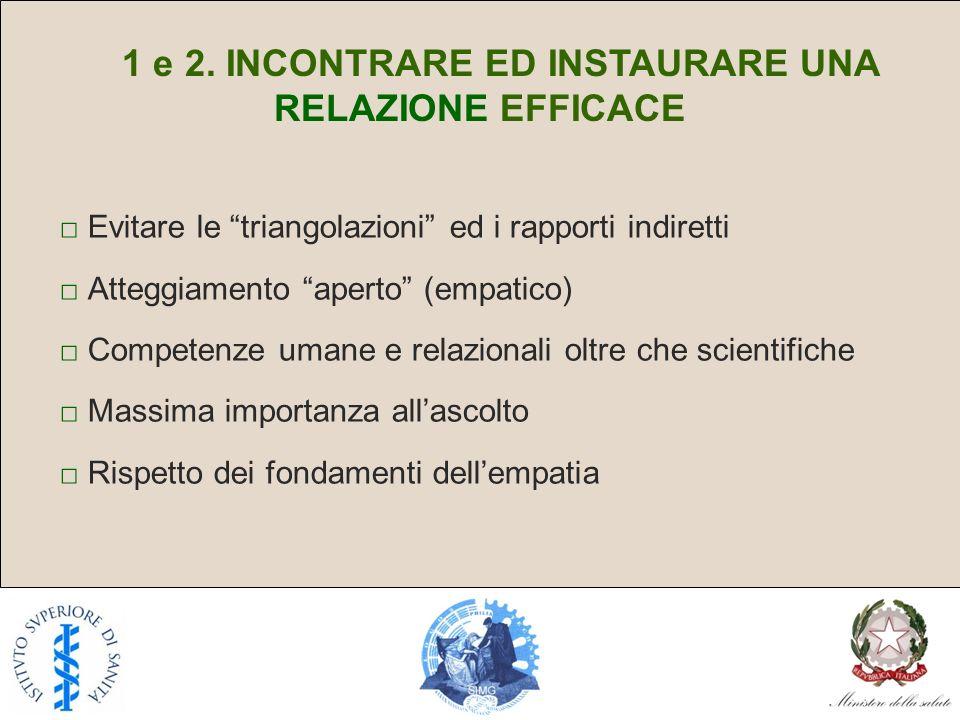 1 e 2. INCONTRARE ED INSTAURARE UNA RELAZIONE EFFICACE
