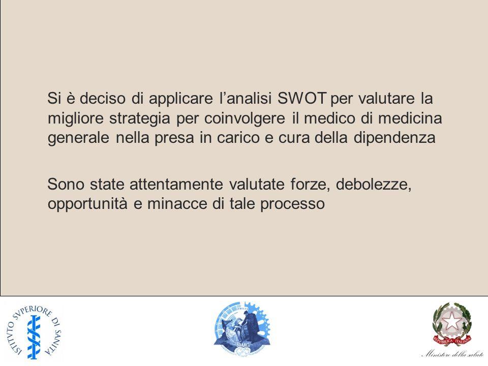 Si è deciso di applicare l'analisi SWOT per valutare la migliore strategia per coinvolgere il medico di medicina generale nella presa in carico e cura della dipendenza