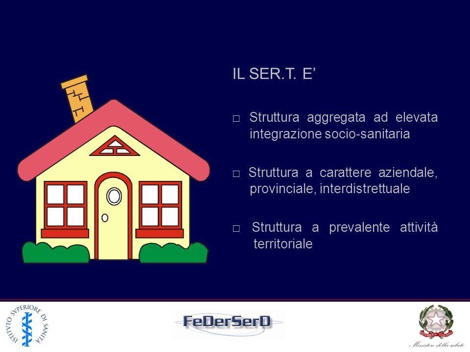 IL SER.T. E' □ Struttura aggregata ad elevata integrazione socio-sanitaria. □ Struttura a carattere aziendale, provinciale, interdistrettuale.