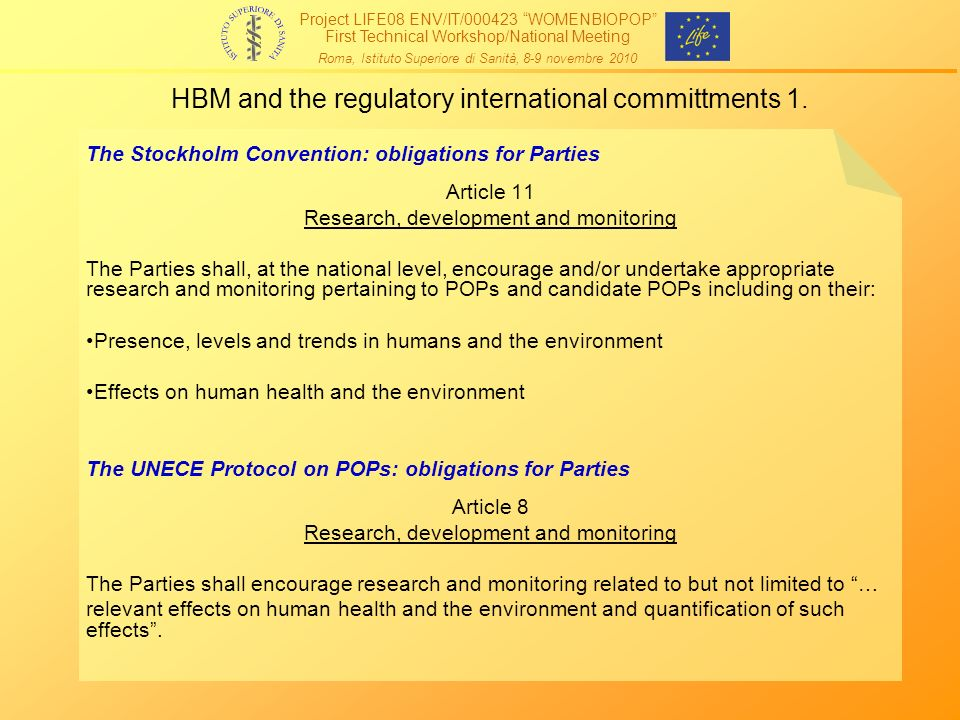 HBM and the regulatory international committments 1.