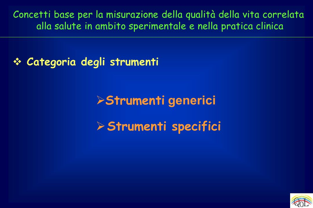 Strumenti generici Strumenti specifici Categoria degli strumenti