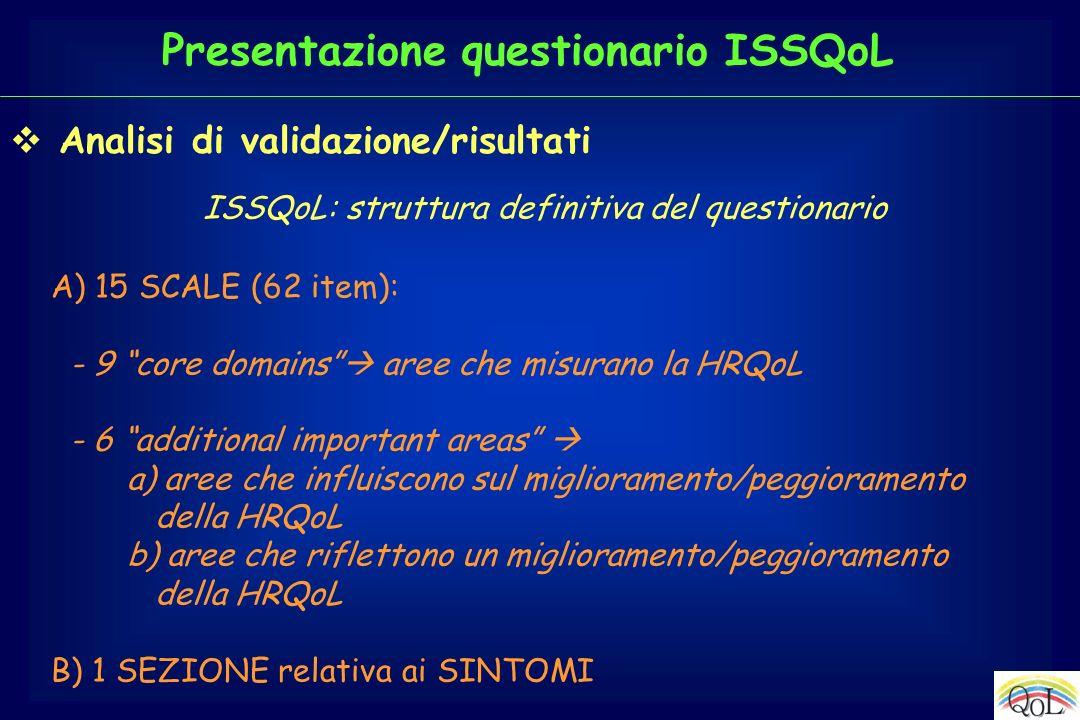 ISSQoL: struttura definitiva del questionario