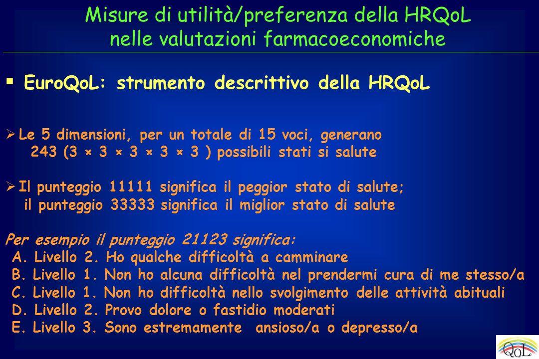 EuroQoL: strumento descrittivo della HRQoL
