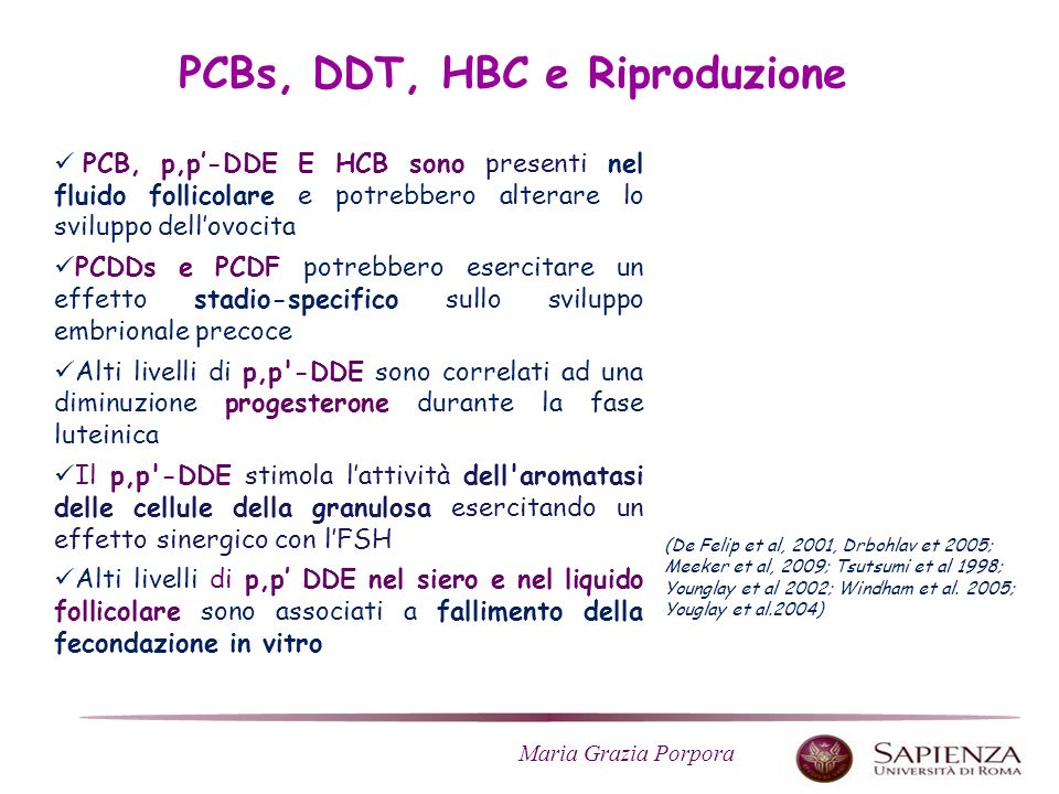 PCBs, DDT, HBC e Riproduzione