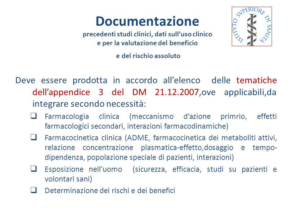 Documentazione precedenti studi clinici, dati sull'uso clinico. e per la valutazione del beneficio.