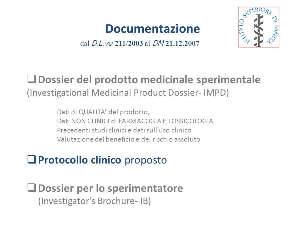 Documentazione Dossier del prodotto medicinale sperimentale