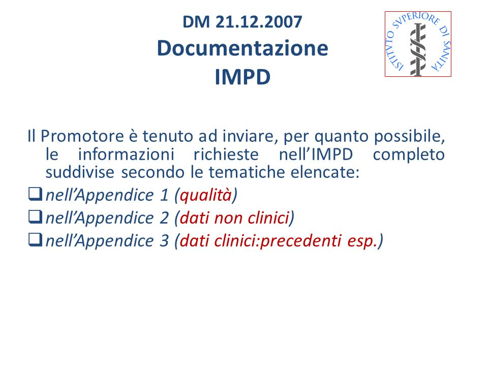 Documentazione IMPD DM 21.12.2007