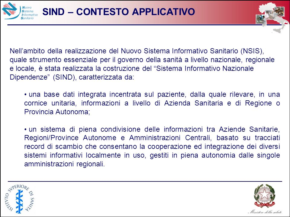 SIND – CONTESTO APPLICATIVO