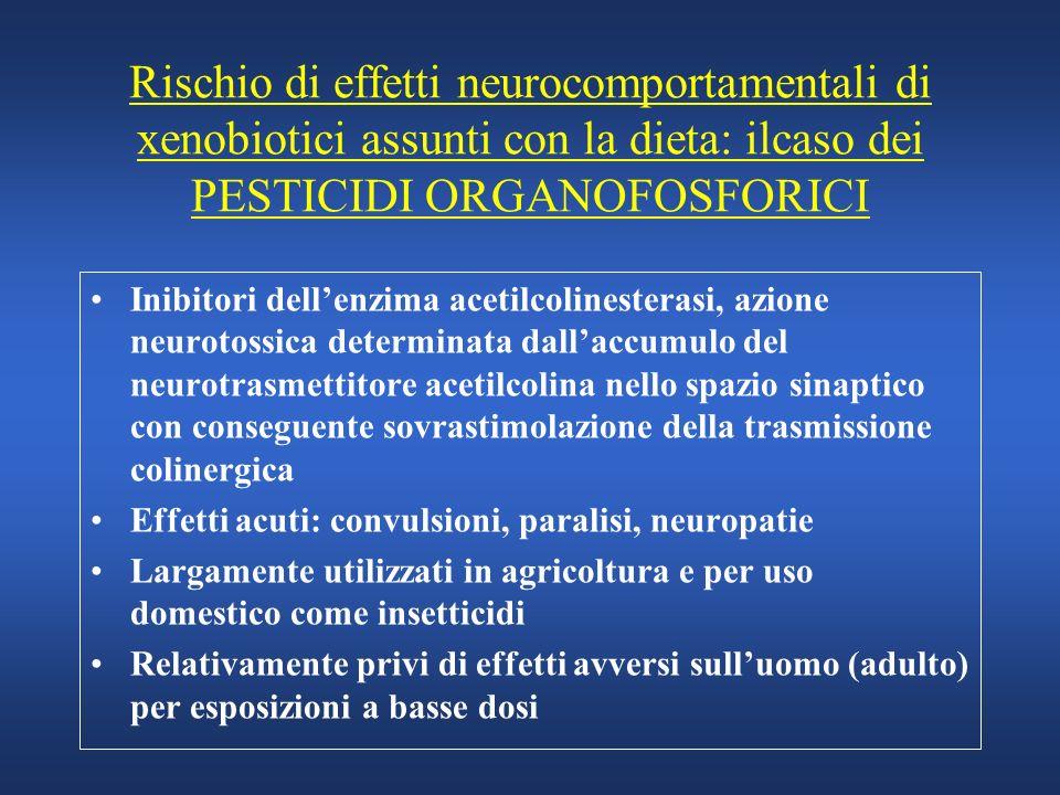 Rischio di effetti neurocomportamentali di xenobiotici assunti con la dieta: ilcaso dei PESTICIDI ORGANOFOSFORICI