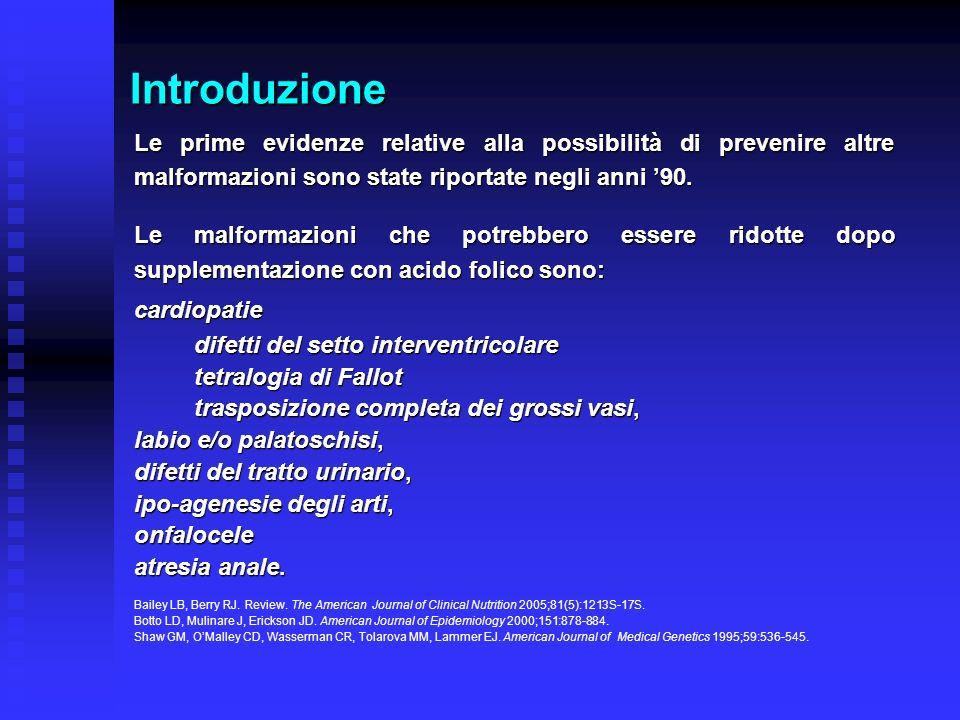 Introduzione Le prime evidenze relative alla possibilità di prevenire altre malformazioni sono state riportate negli anni '90.