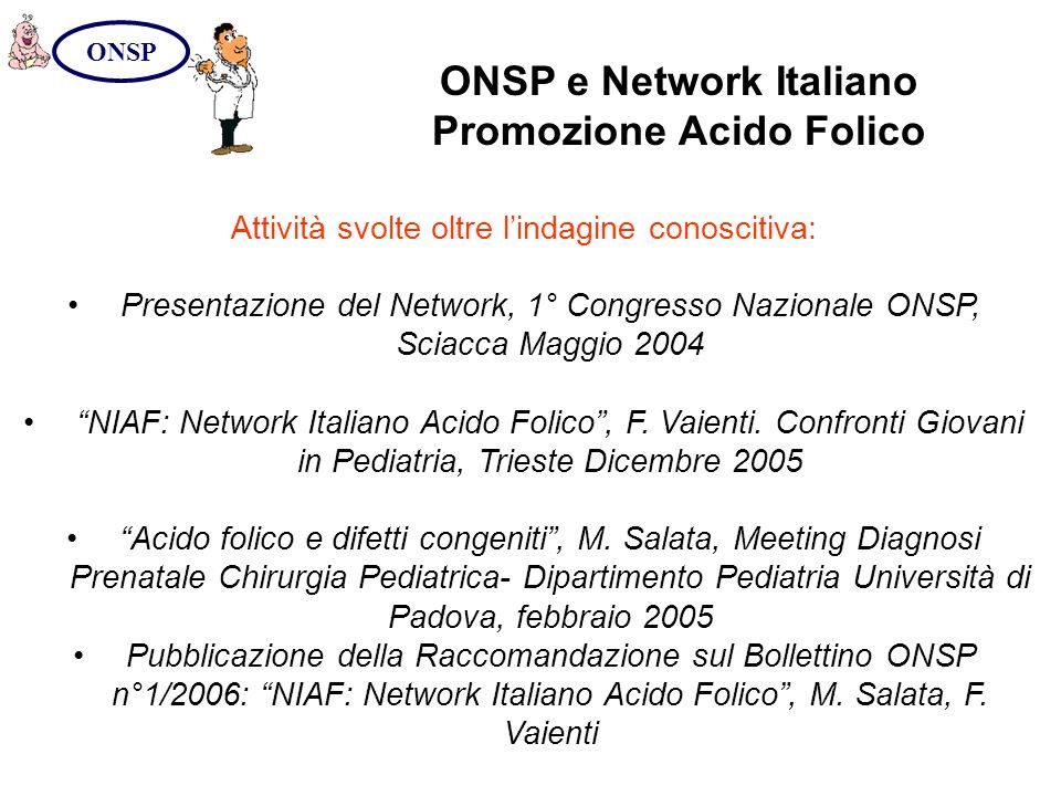 ONSP e Network Italiano Promozione Acido Folico