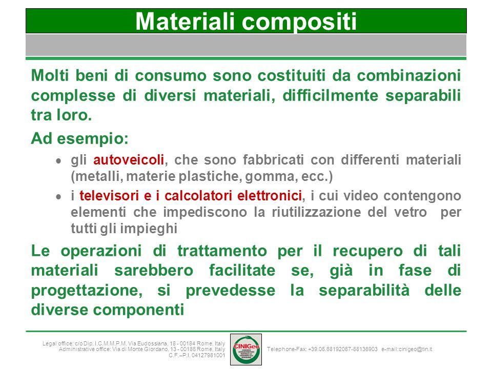 Materiali compositi Molti beni di consumo sono costituiti da combinazioni complesse di diversi materiali, difficilmente separabili tra loro.