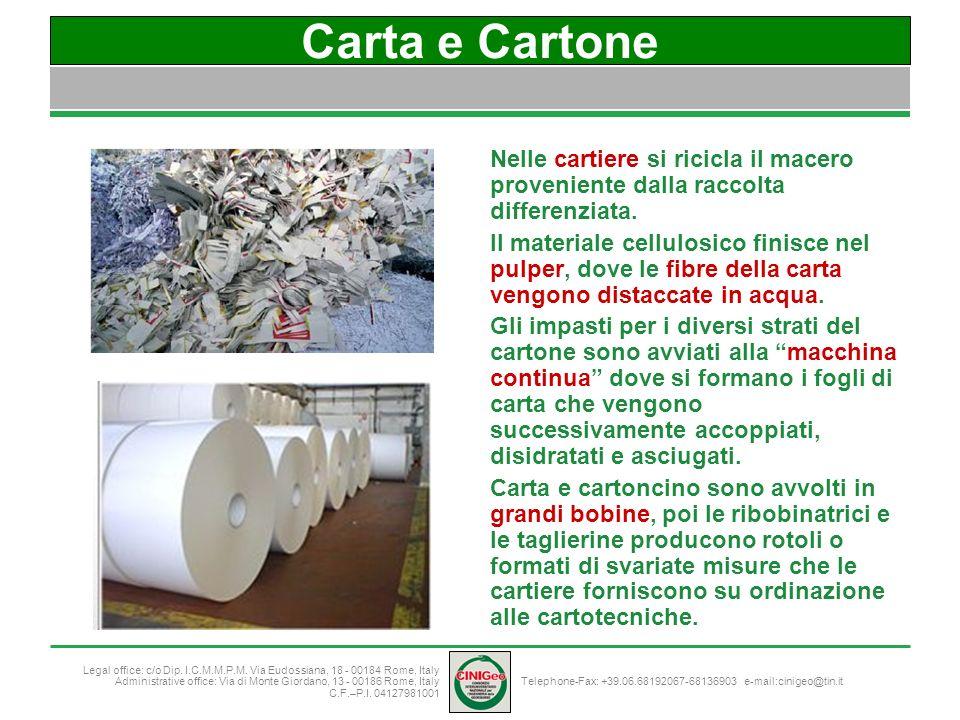 Carta e Cartone Nelle cartiere si ricicla il macero proveniente dalla raccolta differenziata.