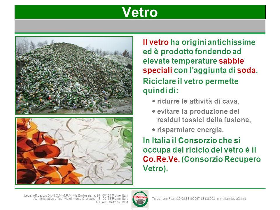 Vetro Il vetro ha origini antichissime ed è prodotto fondendo ad elevate temperature sabbie speciali con l aggiunta di soda.