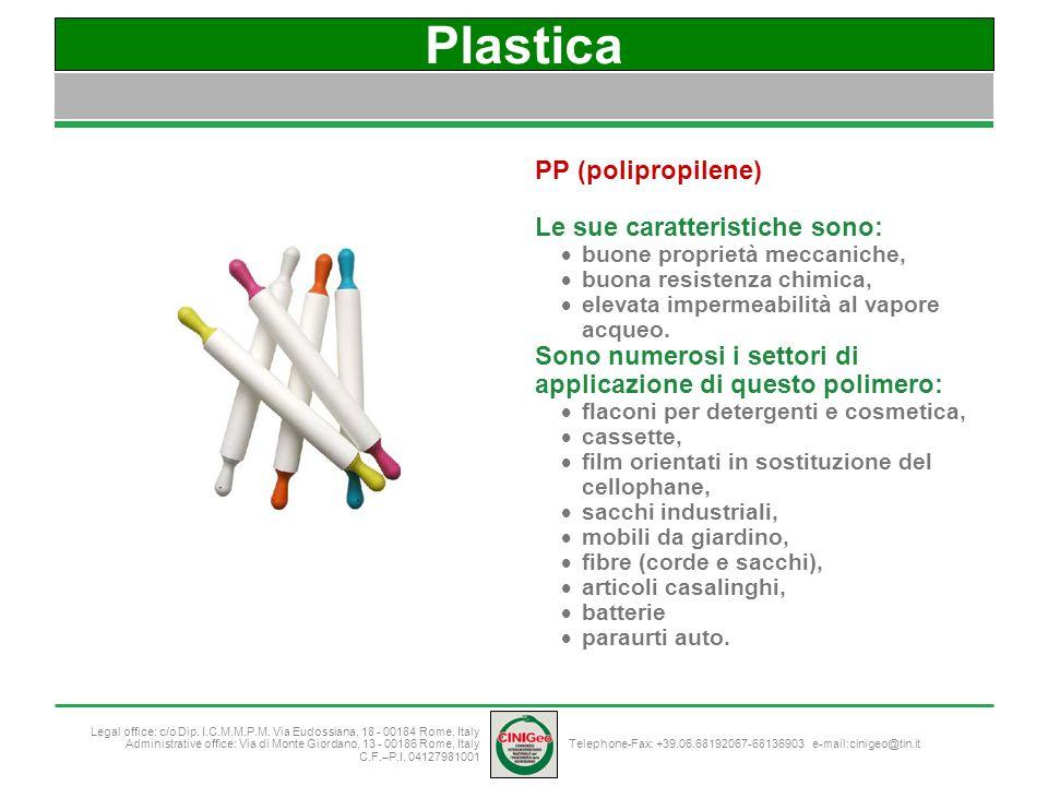Plastica PP (polipropilene) Le sue caratteristiche sono: