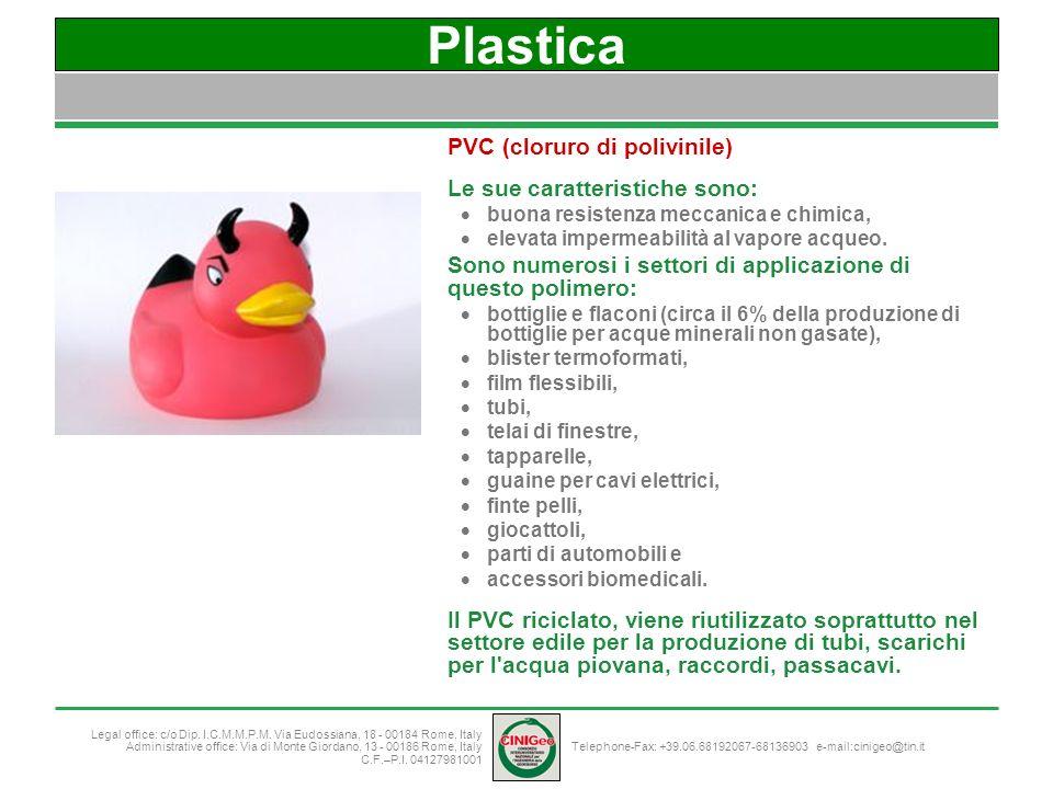 Plastica PVC (cloruro di polivinile) Le sue caratteristiche sono: