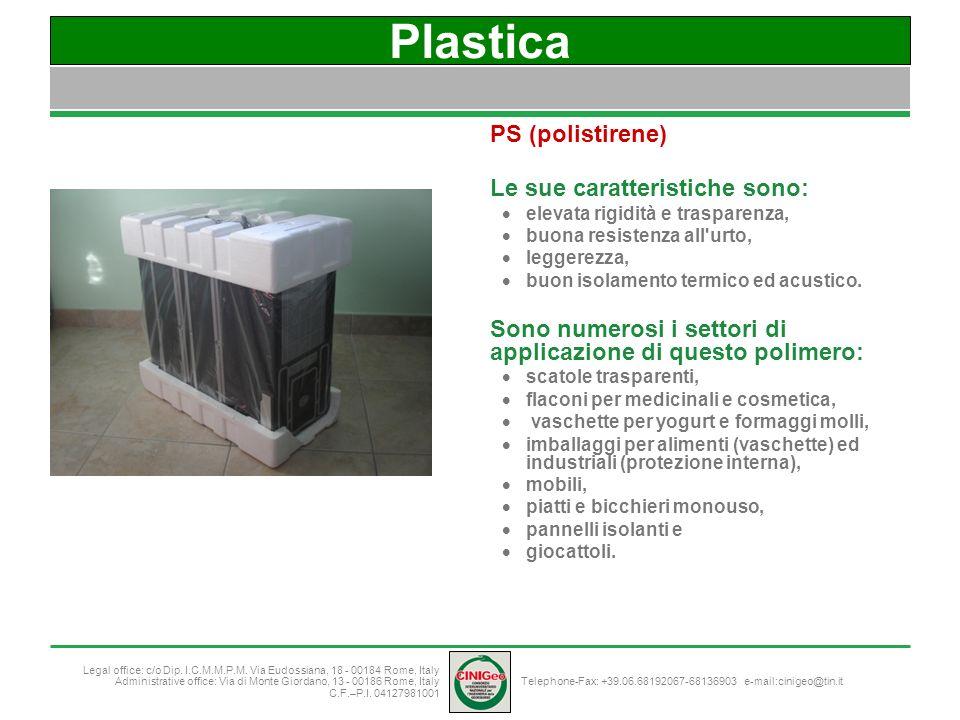 Plastica PS (polistirene) Le sue caratteristiche sono: