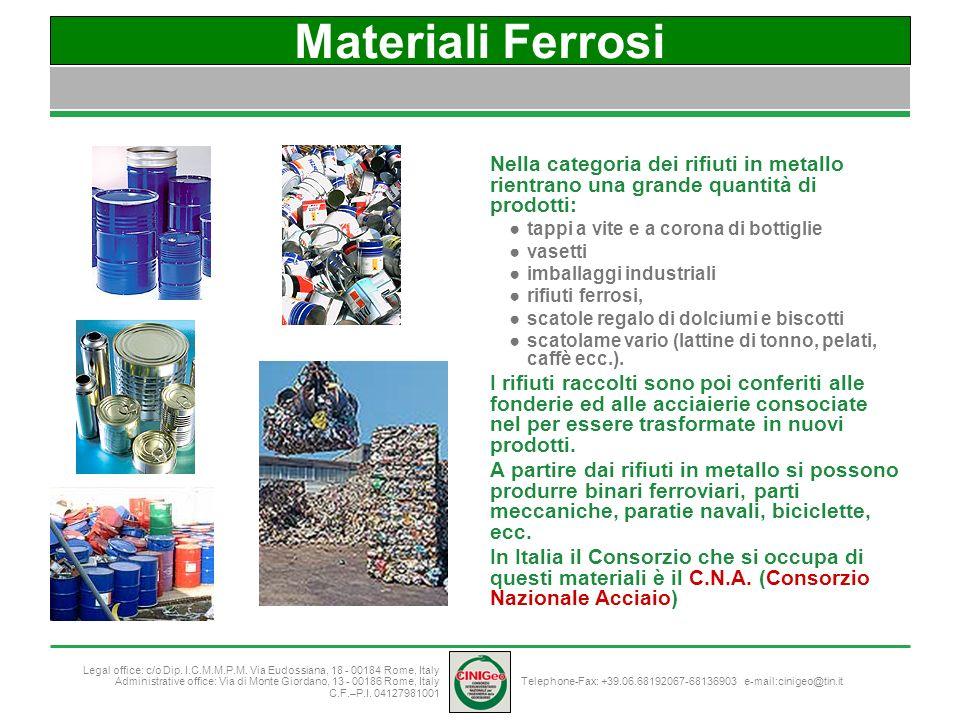 Materiali Ferrosi Nella categoria dei rifiuti in metallo rientrano una grande quantità di prodotti: