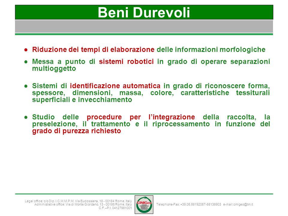 Beni Durevoli Riduzione dei tempi di elaborazione delle informazioni morfologiche.
