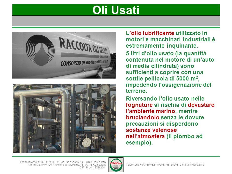 Oli Usati L olio lubrificante utilizzato in motori e macchinari industriali è estremamente inquinante.