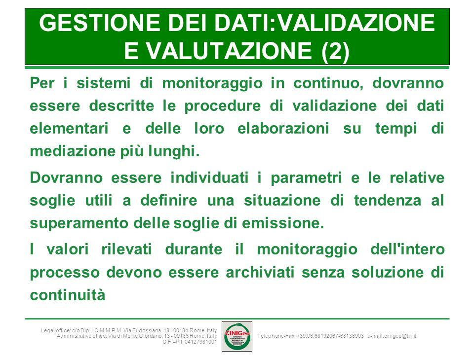 GESTIONE DEI DATI:VALIDAZIONE E VALUTAZIONE (2)