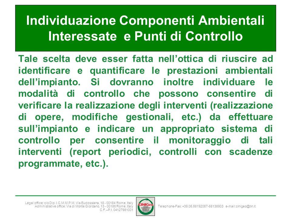 Individuazione Componenti Ambientali Interessate e Punti di Controllo