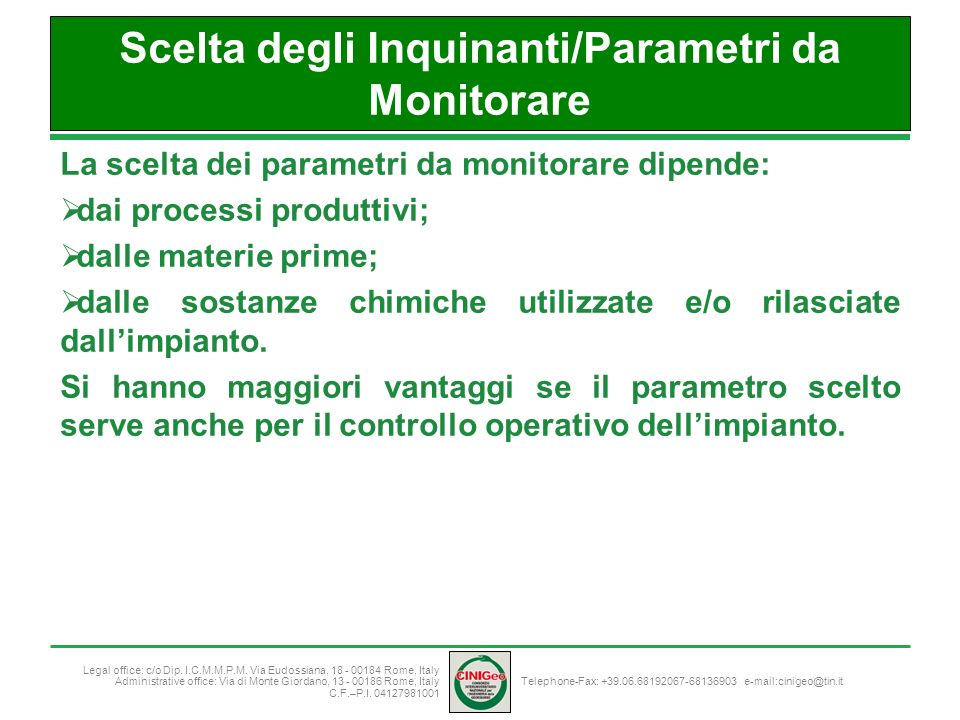 Scelta degli Inquinanti/Parametri da Monitorare