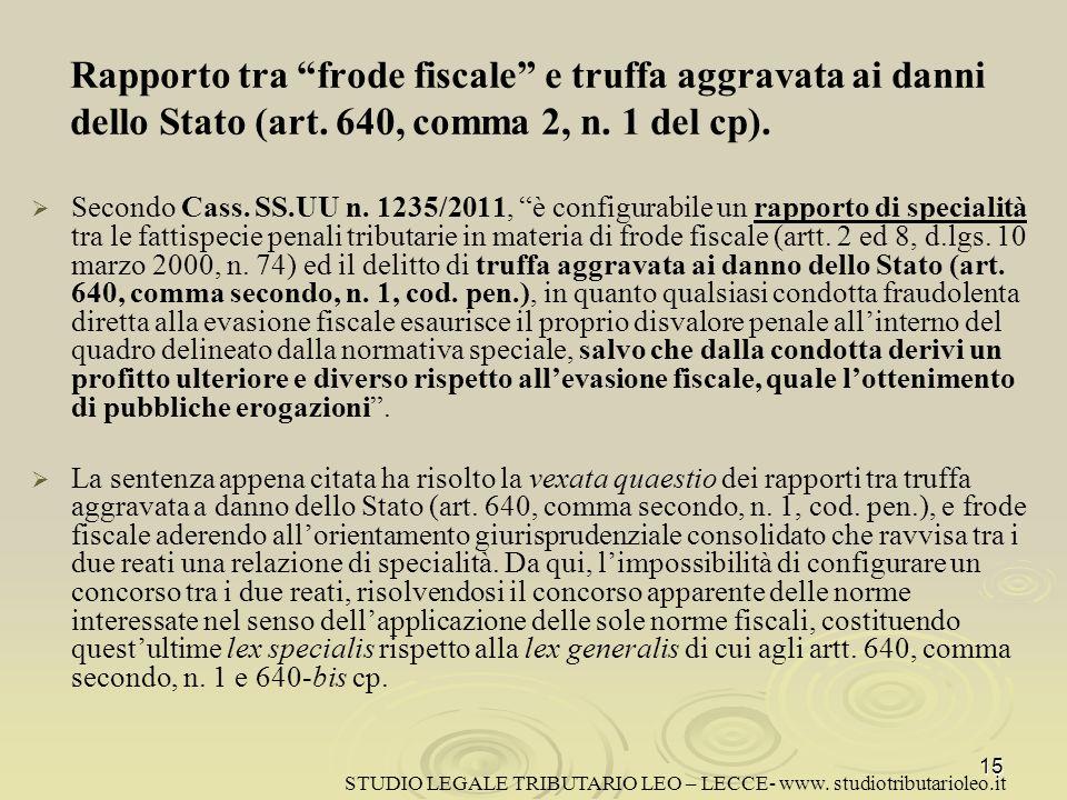 Rapporto tra frode fiscale e truffa aggravata ai danni dello Stato (art. 640, comma 2, n. 1 del cp).