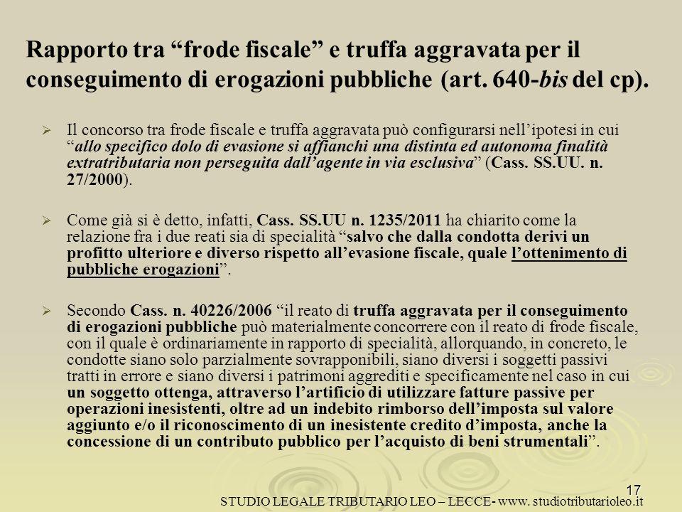 Rapporto tra frode fiscale e truffa aggravata per il conseguimento di erogazioni pubbliche (art. 640-bis del cp).