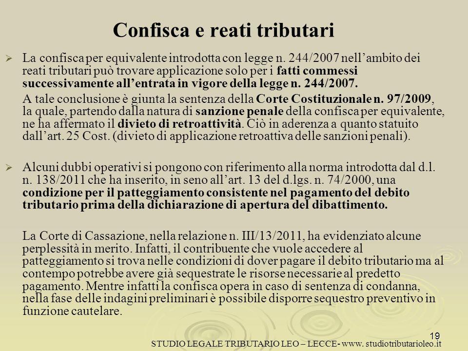 Confisca e reati tributari