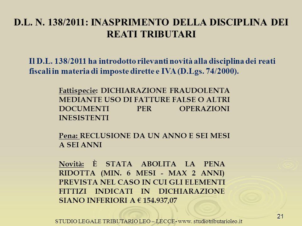 D.L. N. 138/2011: INASPRIMENTO DELLA DISCIPLINA DEI REATI TRIBUTARI