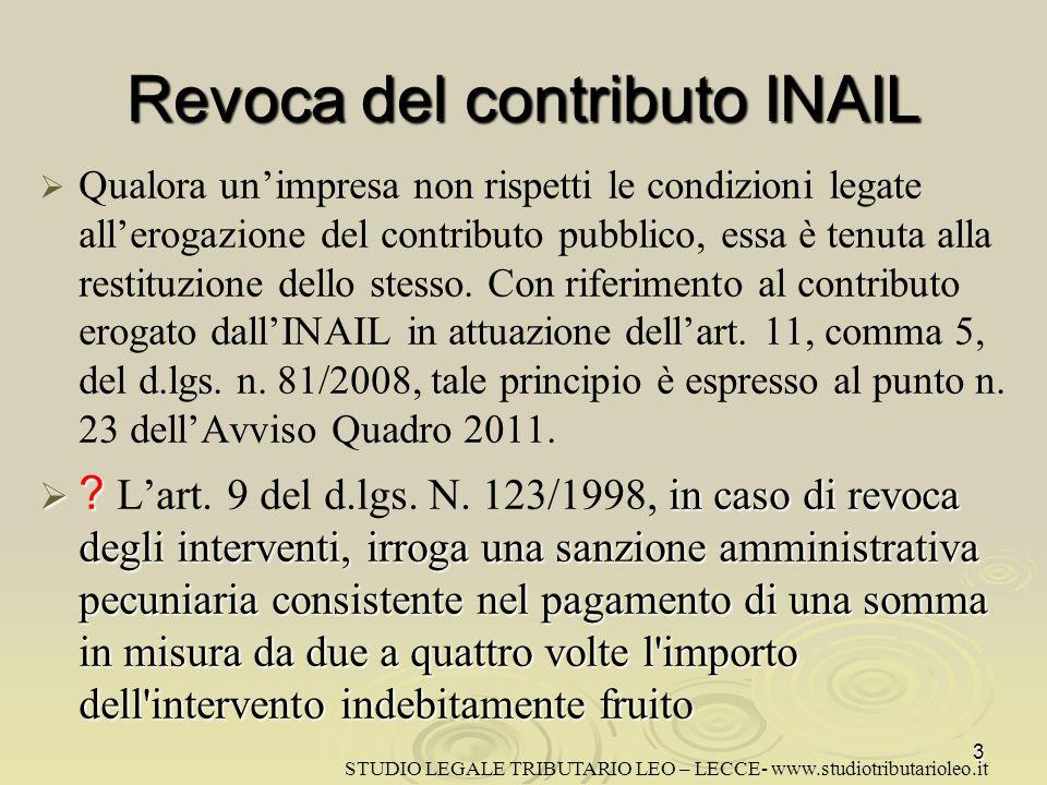 Revoca del contributo INAIL