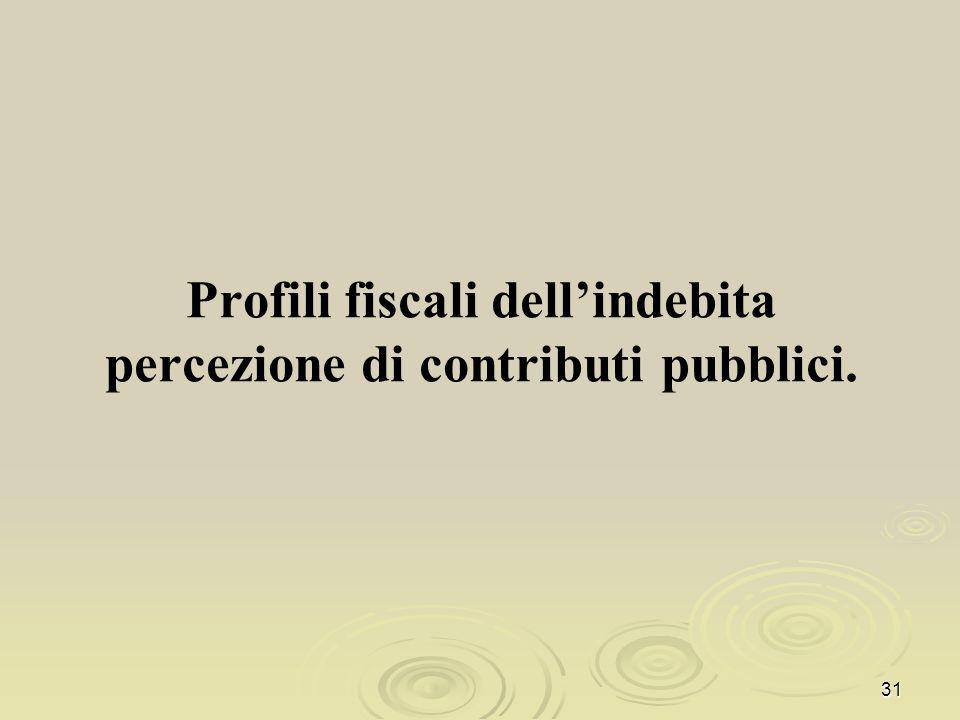 Profili fiscali dell'indebita percezione di contributi pubblici.