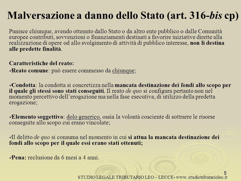 Malversazione a danno dello Stato (art. 316-bis cp)