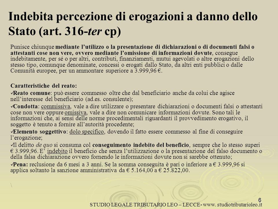 Indebita percezione di erogazioni a danno dello Stato (art. 316-ter cp)