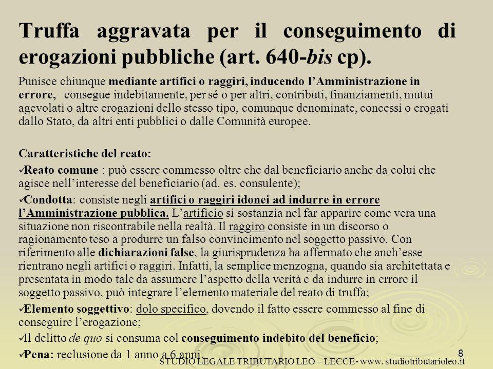 Truffa aggravata per il conseguimento di erogazioni pubbliche (art
