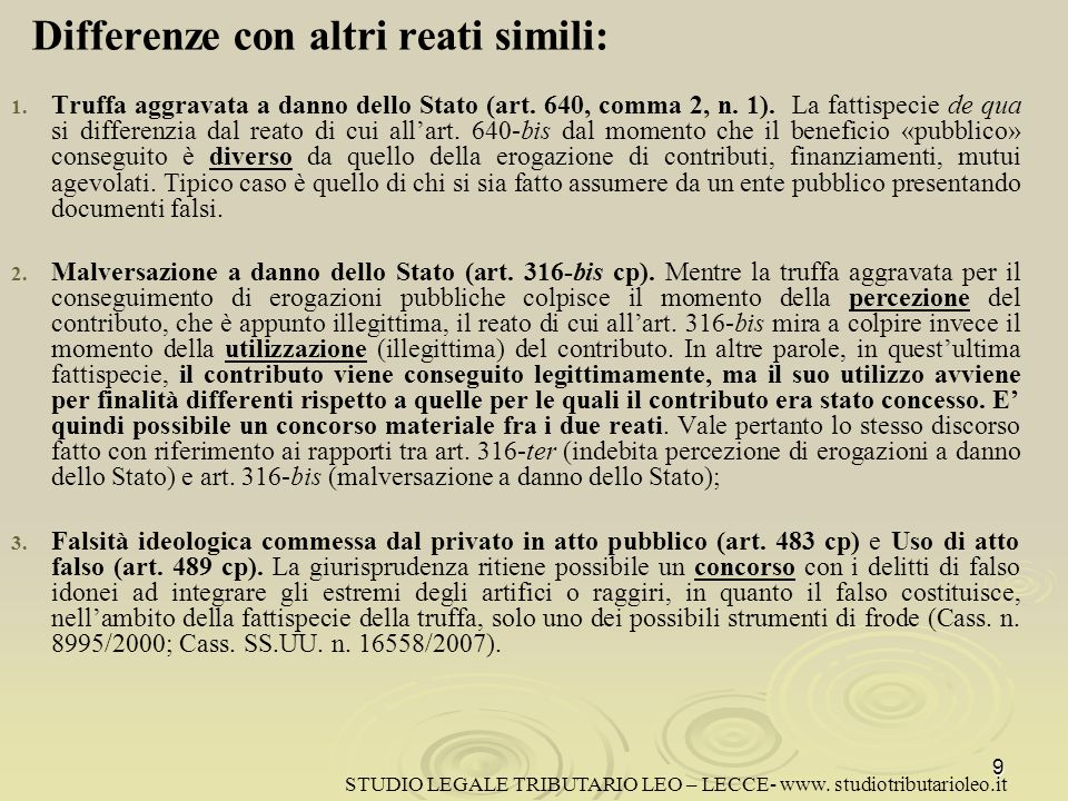Differenze con altri reati simili: