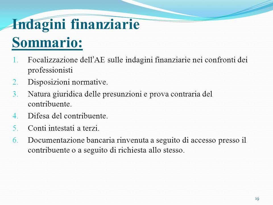 Indagini finanziarie Sommario: