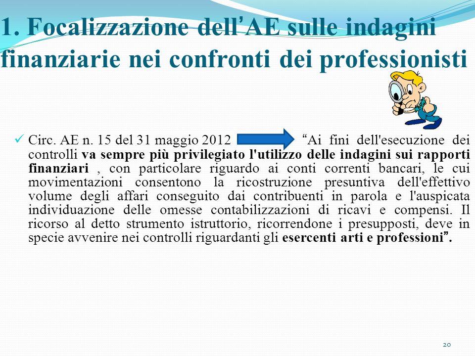 1. Focalizzazione dell'AE sulle indagini finanziarie nei confronti dei professionisti