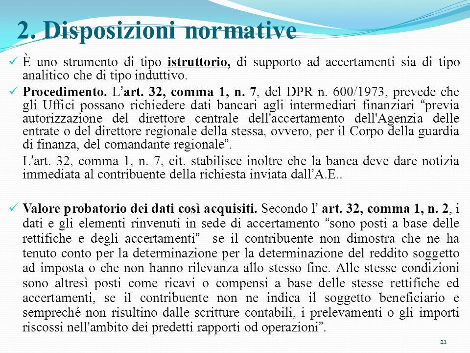 2. Disposizioni normative