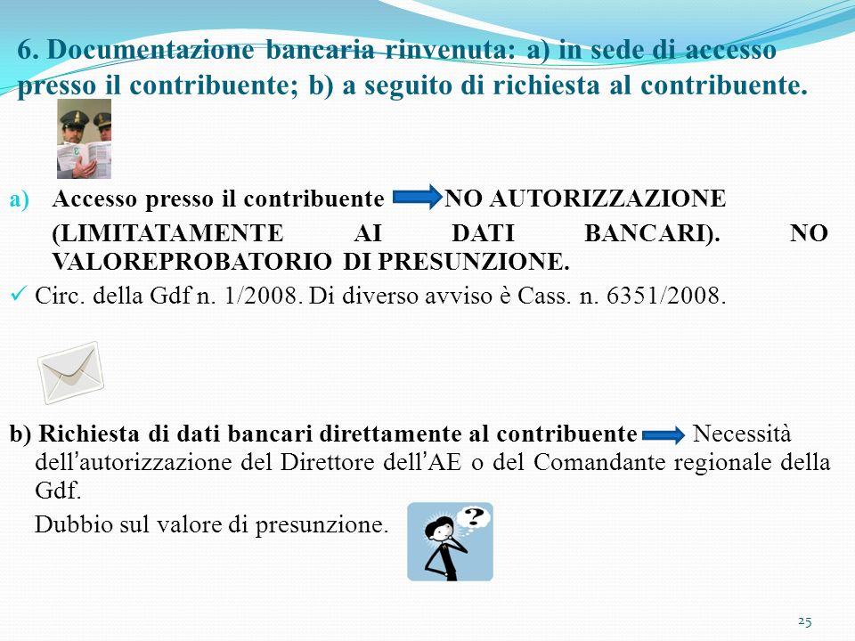6. Documentazione bancaria rinvenuta: a) in sede di accesso presso il contribuente; b) a seguito di richiesta al contribuente.