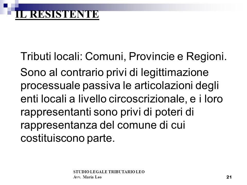 Tributi locali: Comuni, Provincie e Regioni.