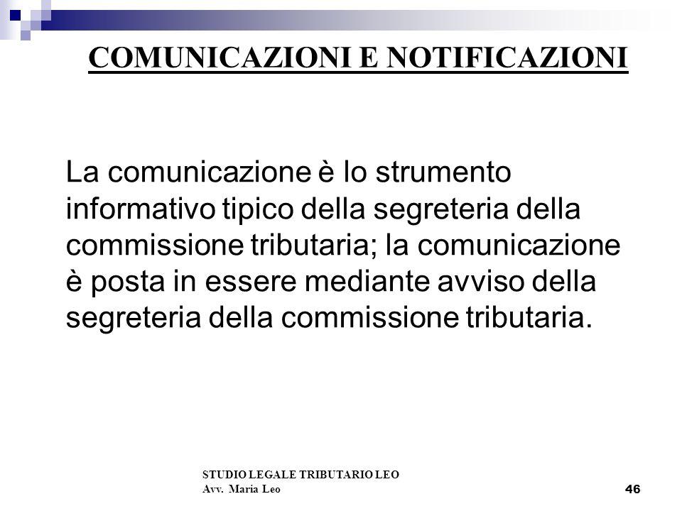 COMUNICAZIONI E NOTIFICAZIONI
