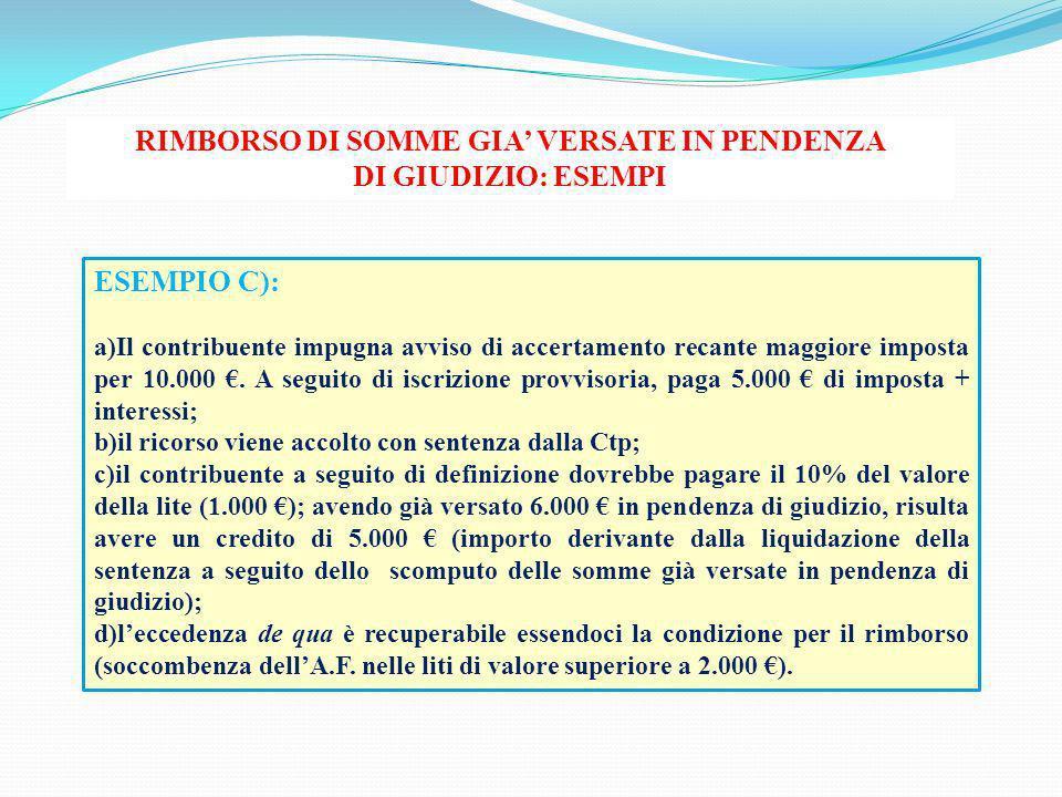 RIMBORSO DI SOMME GIA' VERSATE IN PENDENZA