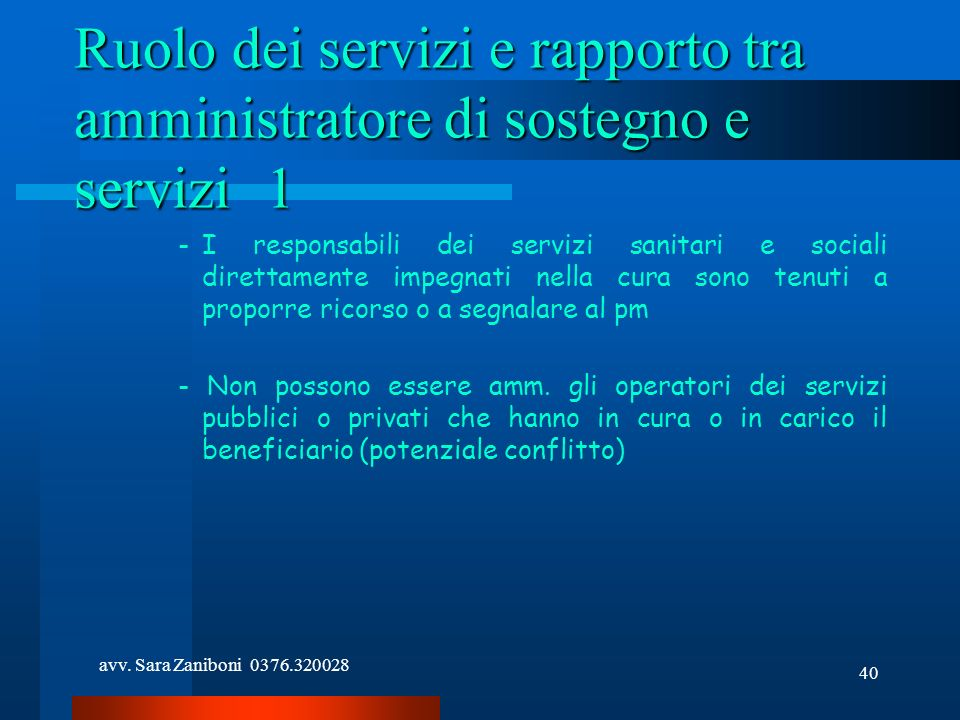 Ruolo dei servizi e rapporto tra amministratore di sostegno e servizi