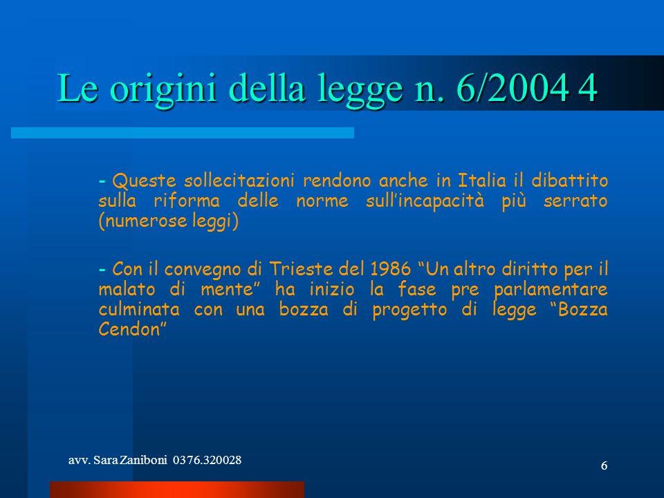 Le origini della legge n. 6/2004 4